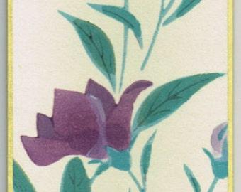 """Japanese woodblock print, Fukuda Suiko,"""" Chinese bellflower and Giant katydid"""""""