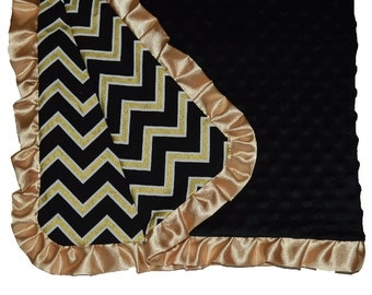 Black and gold chevron blanket, baby toddler child and adult minky blanket, gold nursery, satun ruffle blanket