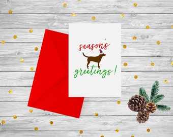 """PRINTABLE Holiday Card with Dog / Chocolate Lab """"Seasons Greetings"""" / Instant Download"""