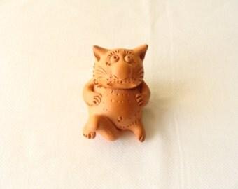 Clay Cat/ Cat Figurine/ Clay Animal Figurine/ Cat/ Doll House Cat/ Home Decor