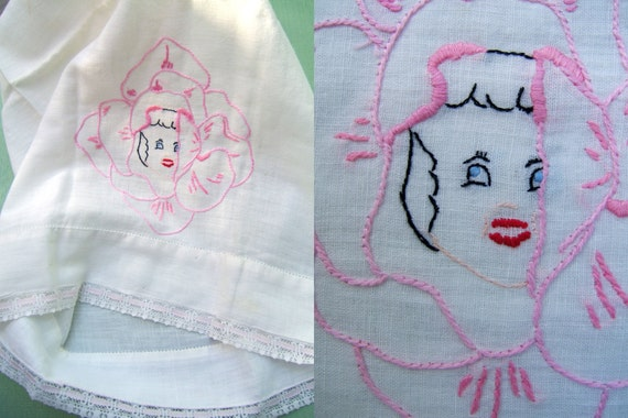 Vintage 1950s Pillowcase Small Hand Embroidered Rose Girl