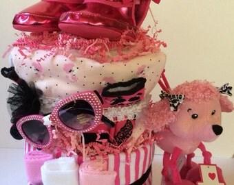 Poodle Diva Baby Diapercake Diaper Cake Shower Gift Pink Black