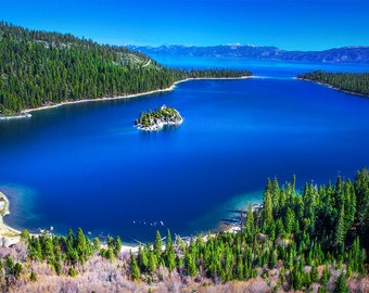 Lake Tahoe Photography, Emerald Bay, Nevada Mountains, Mountain lake photography, nature art print, blue wall art, vast landscape photograph