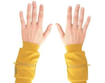 Wrist Zips | Wrist Wallet Cuffs | Mustard Yellow