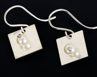 silver squares with freshwater pearls