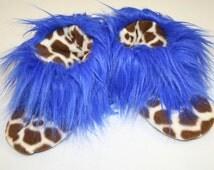 womens fuzzy slippers winter slippers slipper socks with grip rubber soles slipper boots giraffe blue faux fur slippers women shoes size 7-8