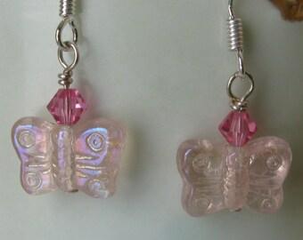 Iridescent Pink Butterfly Dangle Earrings