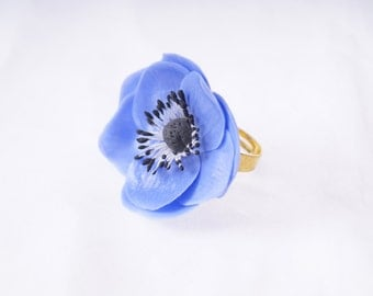 floral ring, anemone ring, anemone jewelry, blue flower jewelry, floral jewelry,sky blue floral flower