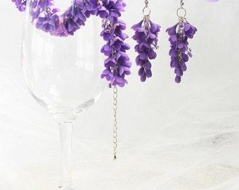 Lilac Jewelry Set with Swarovski Stones, Flower Jewelry, Dangle Earrings, Charm Bracelet, Flower Bracelet