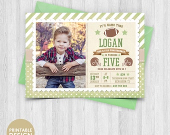 Printable Football Birthday Invitation - Football Party Invite with Picture - Sports Photo Card -  Football Invite - Any Age Boys and Girls