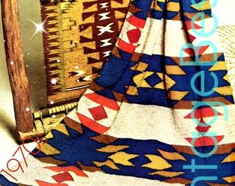 INSTANT DOWNlOAD - PdF Pattern - Knitting PATTERN Vintage 1970s Navajo Blanket AFGHAN American Indigenous Indian Afghan VintageBeso