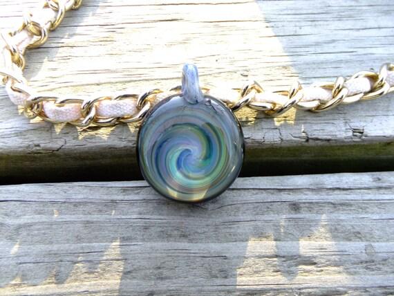 Blue & Green Pendant Necklace Blown Glass Pendant Focal Bead Lampwork Bead Boro Pendant Lampwork Pendant Heady Glass Pendant Blue Necklace