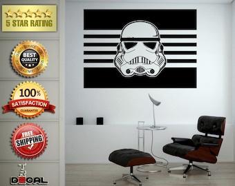 Star Space Warrior Galaxy Fighter Helmet Wall Vinyl Sticker Mural Room Decor L1784