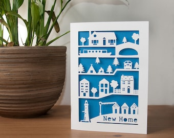 New Home Papercut Card 5x7 Inches