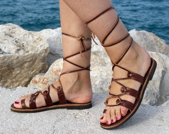 Gladiator style - lace up leather Sandals - Dark Brown - Barefoot Greek Leather Sandals Handmade