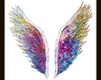 The Global Angel Wings (White) by Colette Miller Print
