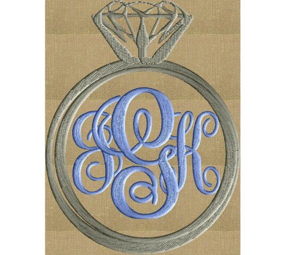 Engagement Ring Font Frame Monogram Embroidery Design Font