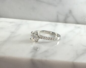 GIA Certified Classic Petite Round Diamond Engagement Ring in - 14K White Gold - 1.03 ct L/VS1 Low Profile - No Halo - Amazing Deal