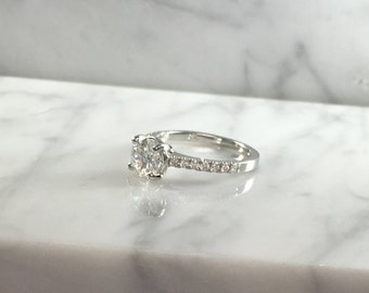 Classic Petite Round Diamond Engagement Ring in 14K White Gold w/ Diamonds - Low Profile - No Halo - Petite Ring