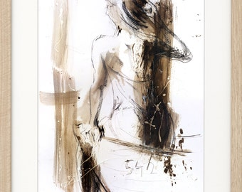 Woman drawing, Giclee print, Charcoal drawing, Woman print, Fine art print, Figurative Artwork, Graphic art Wall decor print, Woman sketch
