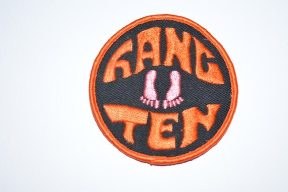"Hang Ten, 3"" Sew-On Patch, Boho Hippie Surfer Vintage Embroidered Clothing Patch, Vest Jacket Shirt Hat Patch, 10 Cool Fun Neat Surfing e12"