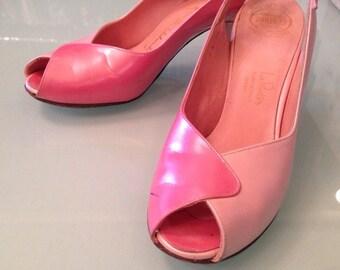 60's Pink Leather PEEP Toe Slingback Heels 2 Tone Womens Size 6