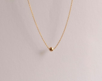 Gold Ball Necklace - Dainty Gold Fill Necklace - Ball Charm Necklace - Beaded Modern Gold Necklace - Minimalist Gold Circle Necklace