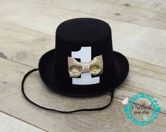 Boy First Birthday - Cake Smash - Mini Top Hat - Bow tie - Black Mini Top Hat - Photo Prop - Boy Birthday - Birthday Hat