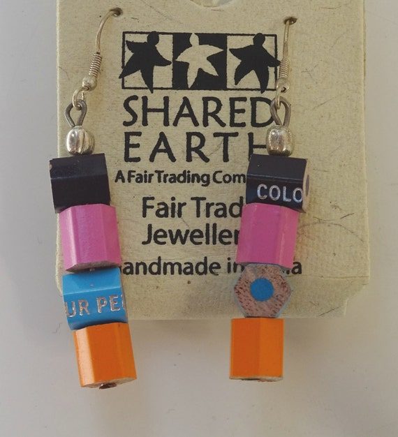 Handmade Recycled Pencil Crayon Earrings, Fair Trade, Made in India