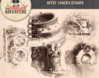Digital scrapbooking, photoshop brushes, digital download, scrapbook elements, vintage camera, photography, artsy stamps overlays