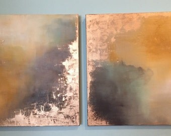 """Series of Gold Leaf Yellow Brown Neutral Abstract Paintings - Aerial Storm Series"""" in 24"""" x 24"""""""