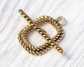 Twisted Rectangle Toggle Clasp, Twisted Rope Toggle Clasp, Large Toggle Clasp, Antique Gold, Made in the USA, 1 Set — AB25