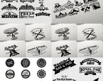 220 Retro Badges and Labels Bundle Mega Bundle