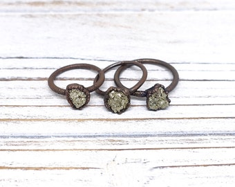 Pyrite ring, fools gold ring, gold pyrite ring, electroformed jewelry, raw ring, mineral ring, raw crystal ring, gold pyrite, fools gold