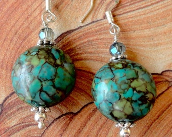 Mosaic Turquoise Earrings, silver, dangle earrings, with sterling silver ear wires and Crystal accents