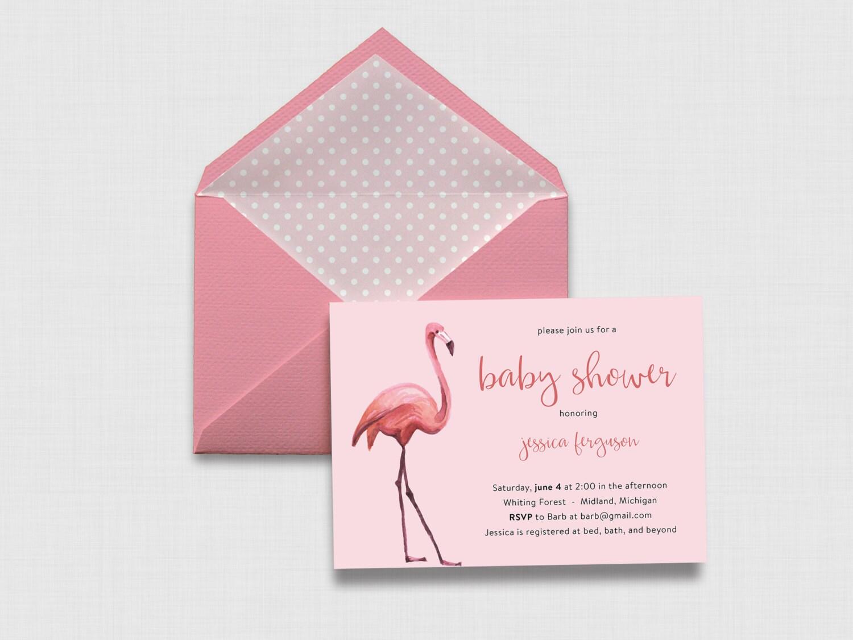 pink watercolor flamingo baby shower 5 x 7