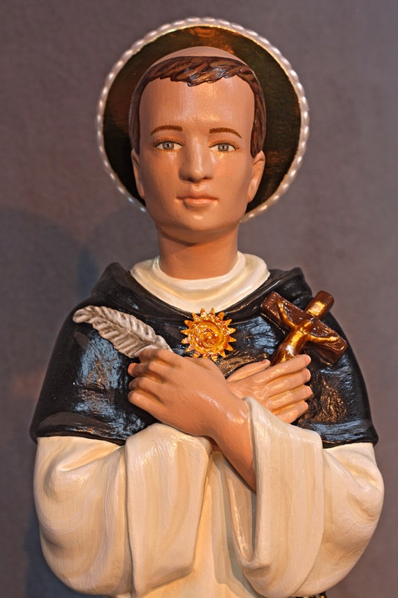"St. Thomas Aquinas 18"" (PARTIAL BLACK CAPPA version) Patron Saint of Catholic Education and Students"