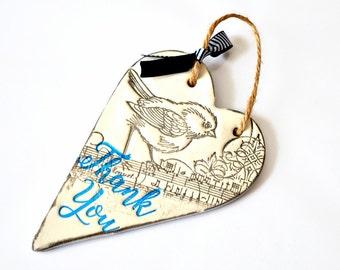 Thank you gift idea, Bird print clay heart, Thank you card alternative, Hanging heart ornament, Appreciation gift, Male teacher gift,