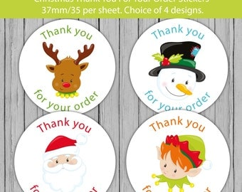 Christmas thank you stickers, santa stickers, thanks for your order labels, thank you label, merry christmas sticker, happy holidays sticker