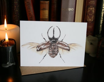 Atlas Beetle 'Chalcosoma atlas' A6 Greeting Card. Insect Specimen Illustration mixed media artwork. Open wings. Entomology. Natural Study.