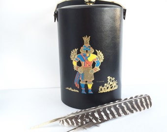 Vintage Large Couroc Hummingbird Kachina Ice Bucket, Large Couroc Native American Leather Ice Bucket