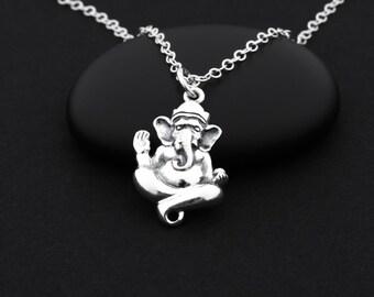 Ganesha Necklace, Ganesh Necklace, Sterling Silver, Ganesh Jewelry, Hindu Jewelry, Ganesh Charm, Zen Necklace, Meditation Jewelry, Yoga