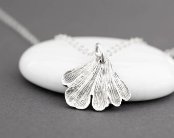 Ginkgo Leaf Necklace, Gingko Necklace, Ginko Leaf Jewelry, Ginko Leaf Necklace, Silver Leaf Necklace, Nature Inspired Jewelry