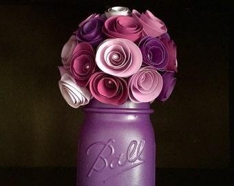 Rustic PURPLE Rose Paper Flower Bouquet! Hand Painted Purple (eggplant) Mason Jar (pint)!