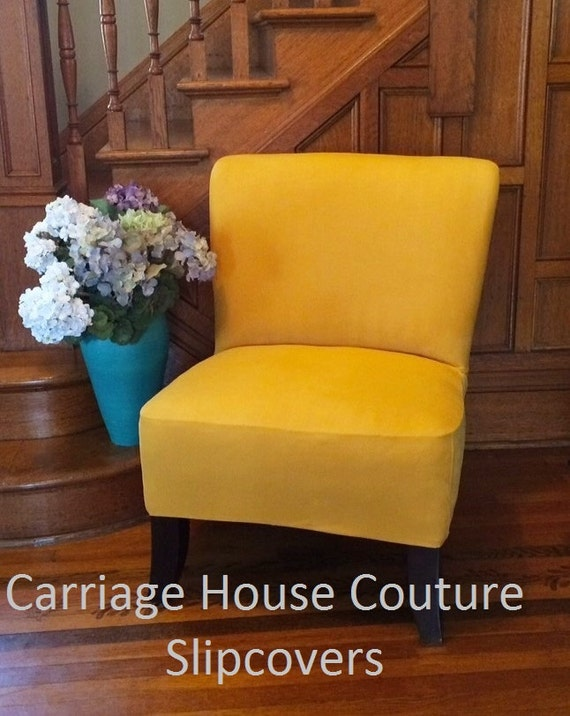 Slipcover Marigold Suede Chair Cover For Armless Chair