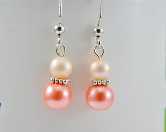 FREE SHIPPING, coral pink earrings, pink pearl earrings, peach pink earrings, coral earrings, coral pink dangle earrings,pink bridal earring
