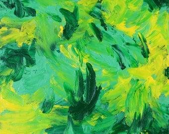 Small acrylic abstract original painting  green yellow wall art free US shipping