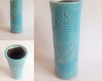 Ceramic Vase / Handmade Pottery / Blue & White