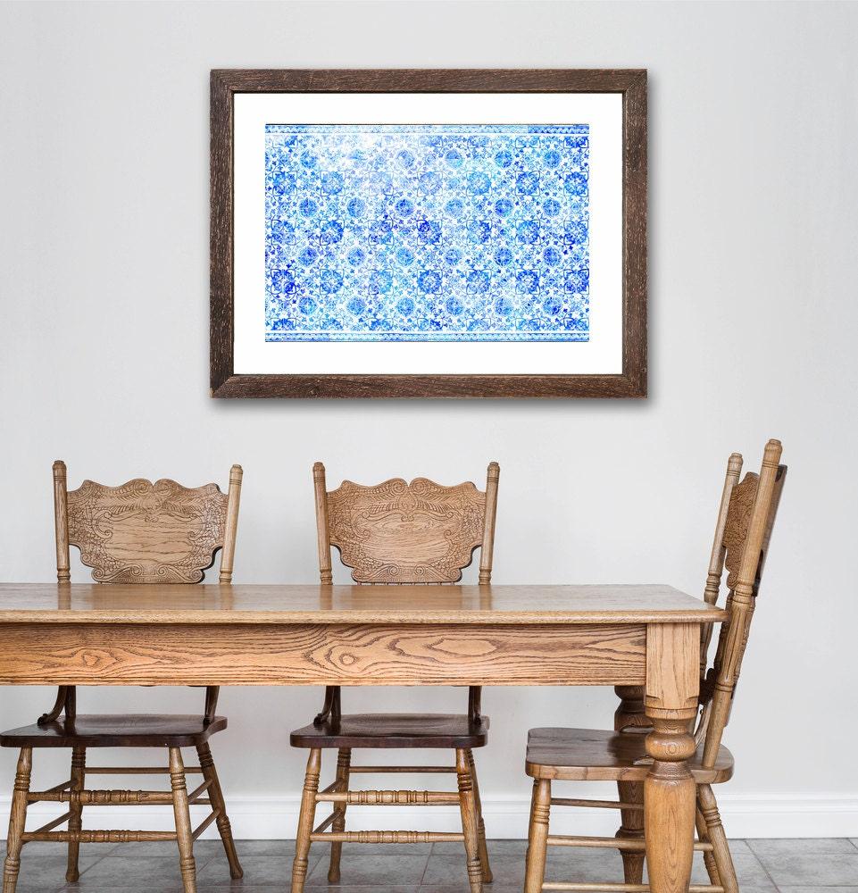 Blue tile spanish kitchen large art blue decor for Large kitchen wall decor