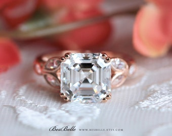 4.60 ct.tw Art Deco Engagement Ring-Asscher Cut Diamond Simulant-Bridal Ring-Anniversary Ring-Rose Gold Plated-Sterling Silver [3214RG]